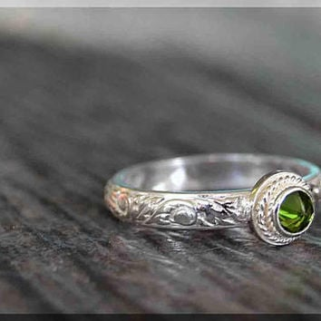 Sterling Silver Birthstone Stacking Ring, Choose Your Birthstone, Stacking Gemstone Ring, Mothers Ring, Rope Bezel Ring, Inverted Setting