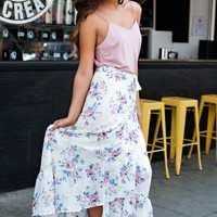 Rose Garden Floral Wrap Skirt (Ivory)