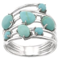 Sterling Silver Simulated Turquoise Multi-Stone Ring, Size 7