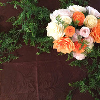 Wedding floral arch in blush, ivory and peach paper filter flowers and silk leaves and vines, Arbor flowers, Floral bouquet decorations
