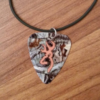 Mossy Oak Camo with hunter orange deer buck symbol guitar pick necklace country southern farm jewelry gift for girl or boy