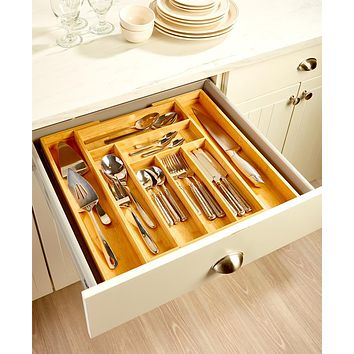 Kitchen Tool and Gadget Utensil Cutlery Expandable Bamboo Drawer Organizer