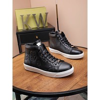 PHILIPP PLEIN  Trending Women's Black Leather Side Zip Lace-up Ankle Boots Shoes High Boots