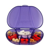 """Multi-day Vitacarry 8 Compartment Pill Box Holds up to 60 Pills Actual Size: 4.5""""w X 3.0""""d X .93""""h (Purple)"""