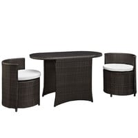 Katonti 3 Piece Outdoor Patio Dining Set in Brown White