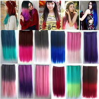 4/5 Clips Heat Resistant Fiber Synthetic Clip in Hair Extensions Straight T Color More Colors Womens High Temperature Hairpiece