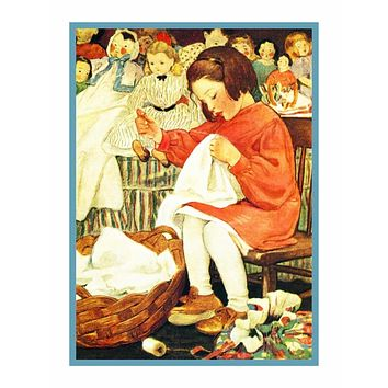 Busy Bee Girl Sewing Doll Clothes By Jessie Willcox Smith Counted Cross Stitch Pattern