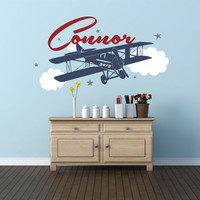 Personalized Airplane Name Decal , Airplane Clouds, Airplane Nursery Name Decal, Airplane Decor, Airplane Nursery, Plane Decal