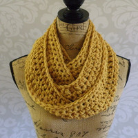 Mustard Gold Yellow Scarf Fall Winter Women's Accessory Infinity Eternity Scarf Gifts For Her