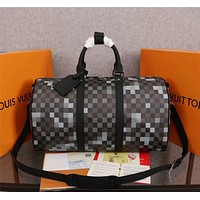 LV Louis Vuitton Damier Graphite CANVAS KEEPALL 50 SHOULDER BAG TRAVEL BAG