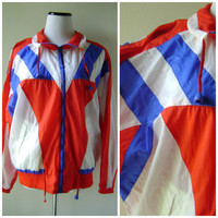 80s Geometric Windbreaker Jacket Vintage Red White and Blue Chevron Pattern Size M Medium Mens Womens Retro Athletic Coat 1980s Hipster Boho