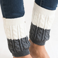 Twice As Nice Grey and Ivory Boot Cuffs