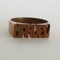 Manuel Name Ring Solid Copper Size 9.25 Jewelry