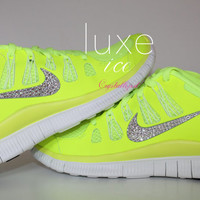 NIKE run free 5.0 running shoes w/Swarovski Crystals detail - Neon yellow