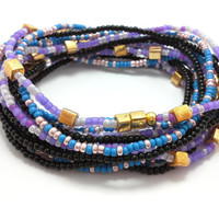 Seed bead wrap stretch bracelets, stacking, beaded, boho anklet, bohemian, stretchy stackable multi strand, purple blue gold black pink cube