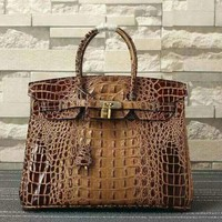Ready Stock Hermes Women's Crocodile Leather Birkin Handbag Inclined Shoulder Bag #686