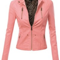 Doublju Women Madarin Collar Faux Leather Blazer Jacket Pink Small