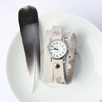 white beige milky leather bracelet wrap around wrist with engraved  feather with silver watch face - Free Shipping