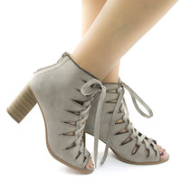 Hewitt Clay By Soda, Clay Suede Peep Toe Caged Corset Lace Up Stacked Block Heels