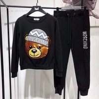"""Moschino"" Women Casual Fashion Cute Letter Embroidery Sequin Cartoon Bear Long Sleeve Trousers Set Two-Piece Sportswear"