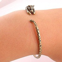 Animal Wrap Bracelet - Leopard - Yellow Bronze