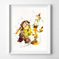 Cogsworth Lumiere Beauty and Beast Wall Art Disney Watercolor Poster UNFRAMED by Inkist Prints