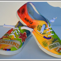 Hand Painted Shoes, Rainbow Painted Sneakers, Inspirational Quote, Graffiti Sneakers, Made to Order Shoes, Womens -Kids Sneakers, All Sizes