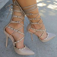 Women Solid Color Gladiator Stiletto Pumps  With Rivet  Detailing And 4.5 Inch Heels