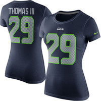 Women's Seattle Seahawks Earl Thomas Nike College Navy Player Name & Number T-Shirt
