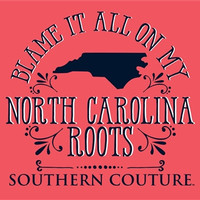Southern Couture Blame it on my North Carolina Roots State Pattern Girlie Bright T Shirt