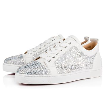 Christian Louboutin Cl Louis Junior Strass Flat Version Latte Strass Sneakers
