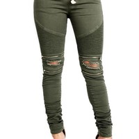 RIPPED BIKER JOGGERS WITH ZIPPER