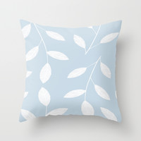 White Leaves On Blue Throw Pillow by ALLY COXON