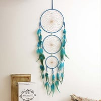 Handmade Indian Blue Dream Catcher Net with feathers Wall Hanging Dreamcatcher Craft Gift