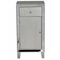 """22'.75"""" X 19"""" X 38"""" Champagne MDF, Wood, Mirrored Glass Accent Cabinet with a Drawer and  Door and d Mirror Accents"""