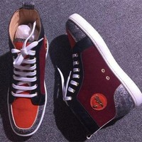 DCCK2 Cl Christian Louboutin Suede Style #2247 Sneakers Fashion Shoes