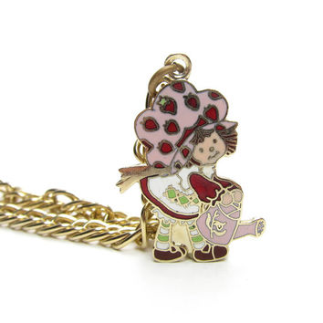 Strawberry Shortcake with a Watering Can Charm Bracelet Gold Vintage 1980 Jewelry