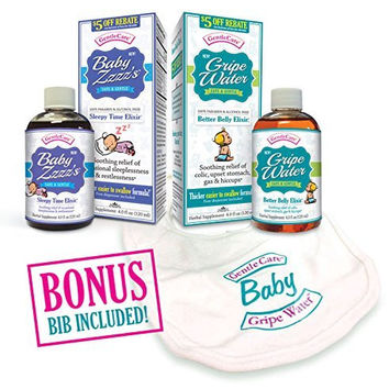 Bundle Gripe Water & Baby ZZZ's Ultimate Combo! by Gentle Care - Help Baby Relieve Gas Colic Discomfort Upset Stomach Sleepless Teething so Moms & Babies Get Sleep - All Natural Safe & Paraben Free