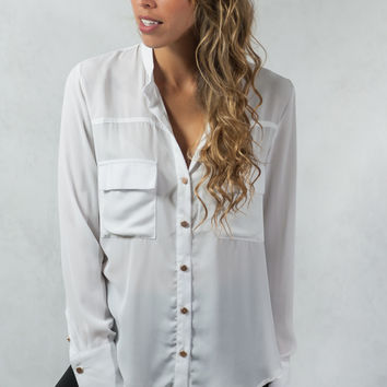 Classic Button-Up Blouse - White
