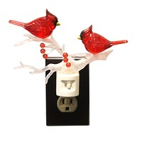Christmas Cardinal On Branch Night Light Swivel Base - 160045