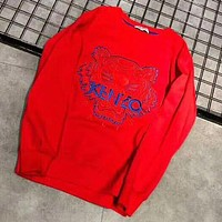 KENZO Autumn And Winter New Fashion Bust Embroidery Ttiger Letter Women Men Keep Warm High Quality Long Sleeve Top Sweater Red
