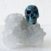 India Crystal Cluster with American Chrysocolla Carved Skull