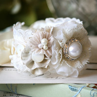 Wedding Corsage Bracelet - Vintage Buttons and Lace Fabric Flowers
