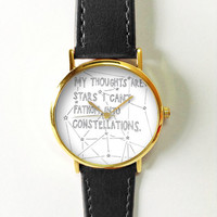 My Thoughts are Stars I Can't Fathom into Constellations ,Vintage Style Leather Watch, Women Watches, Boyfriend Watch, Men's watch, Quotes