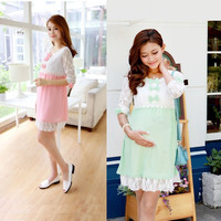 673 one-piece dress spring summer fashion lace chiffon patchwork bow maternity pregnant clothing /top/t-shirt/dress/clothes/wear = 1957990212