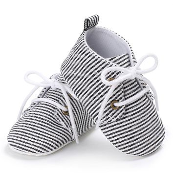 Handsome Baby Boys Girls Spring Sneakers Shoes Infant Toddler Anti Slip Crib Bebe Soft Soled Autumn Striped Lace Up Shoe