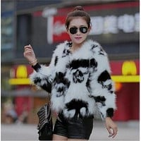 Skull Print Faux Fur Casual Jacket