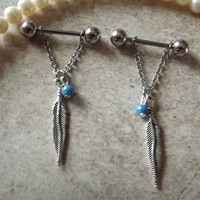 Nipple Ring Feather and Blue Bead Barbell Body Jewelry 14ga Stainless Steel 1 Set
