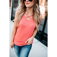 It's Time Criss Cross Tank (Coral)