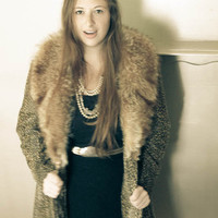 COUTURE DESIGNER Faux Leopard with Genuine Fur Trim Long Winter Coat